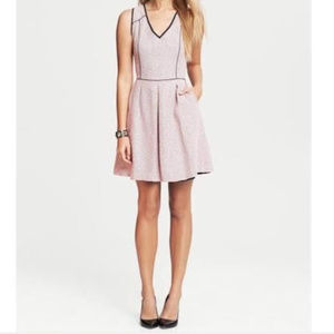 Banana Republic Pink Piped Tweed Fit & Flare Dress